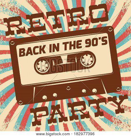 Retro party poster design. Disco music event at night club vintage invitation template.