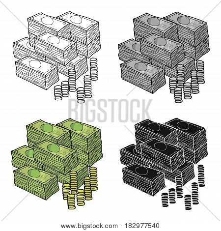 Piles of cash and coins icon in cartoon design isolated on white background. Conference and negetiations symbol stock vector illustration.