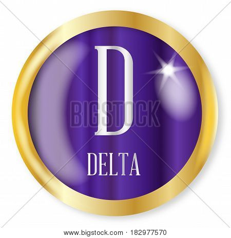 D for Delta button from the NATO phonetic alphabet with a gold metal circular border over a white background