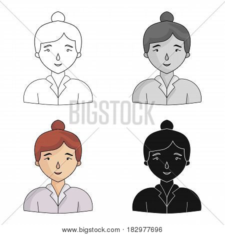 Businesswoman icon in cartoon design isolated on white background. Conference and negetiations symbol stock vector illustration.