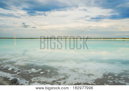 The view from the shore of the clarifier sludge soda production. Russia the Urals the city of Berezovsky