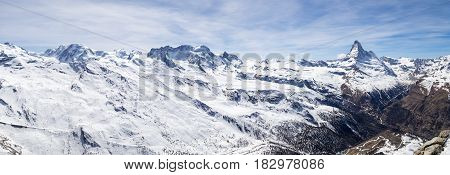 Panoramic view of the Swiss Alps with the famous Matterhorn