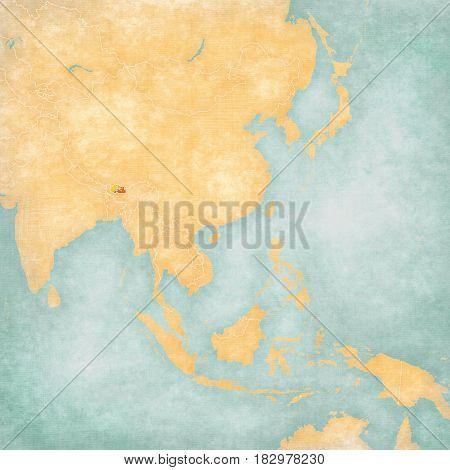 Map Of East Asia - Bhutan