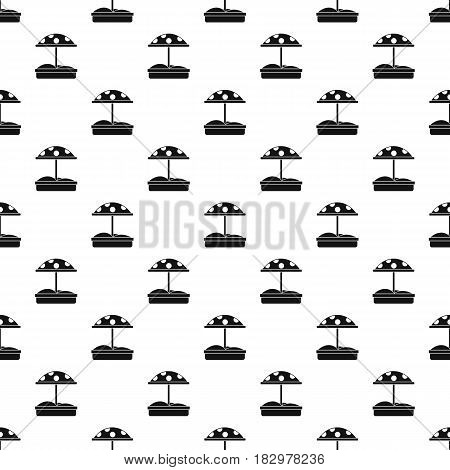 Sandbox with dotted umbrella pattern seamless in simple style vector illustration