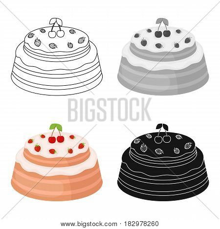 Cake with cherry icon in cartoon design isolated on white background. Cakes symbol stock vector illustration.