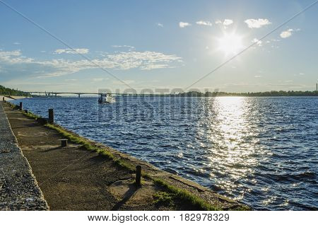 The embankment of the Kama river in Perm on a summer evening