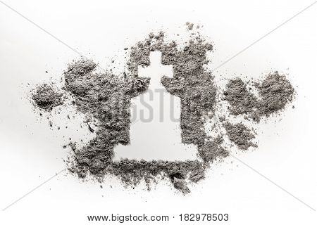 Gravestone or tombstone with christian cross drawing made in grey ash or dust as grave graveyard death cemetery silhouette concept illustration