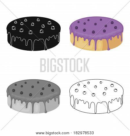 Bilberry cake icon in cartoon design isolated on white background. Cakes symbol stock vector illustration.