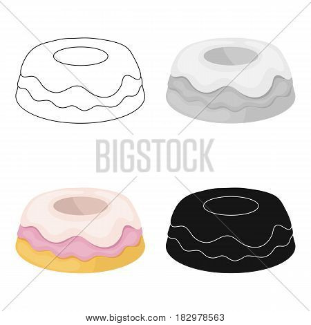 Cake icon in cartoon design isolated on white background. Cakes symbol stock vector illustration.