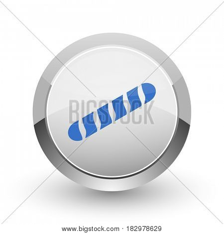 Baguette chrome border web and smartphone apps design round glossy icon.
