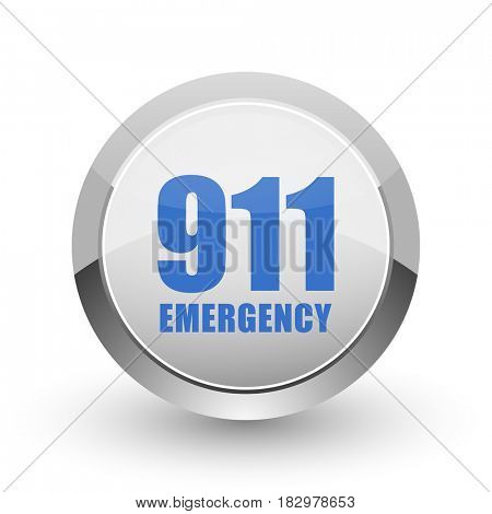 Number emergency 911 chrome border web and smartphone apps design round glossy icon.