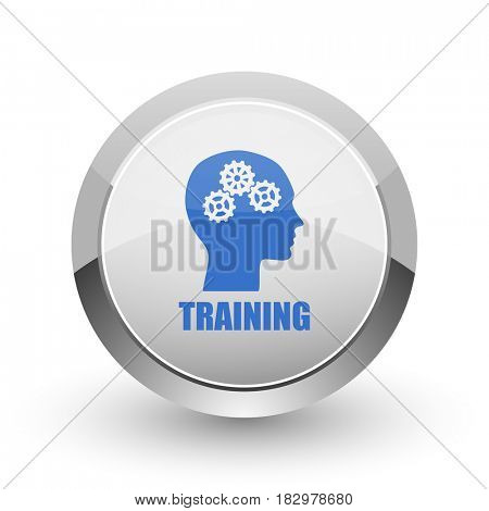 Training chrome border web and smartphone apps design round glossy icon.