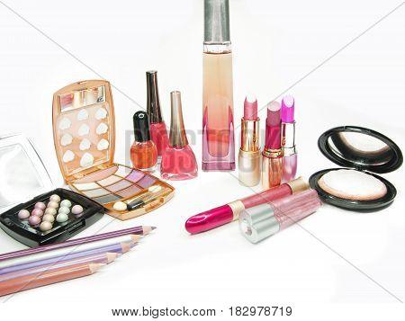 lipsticks eye shadows pencils nail polishers lip gloss powder