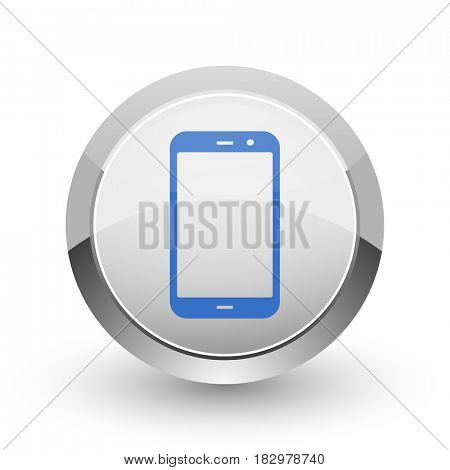 Smartphone chrome border web and smartphone apps design round glossy icon.