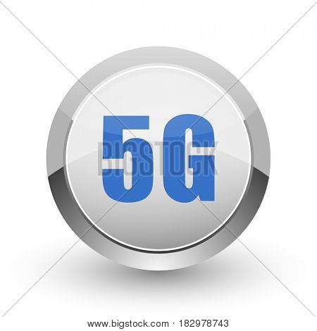 5g chrome border web and smartphone apps design round glossy icon.