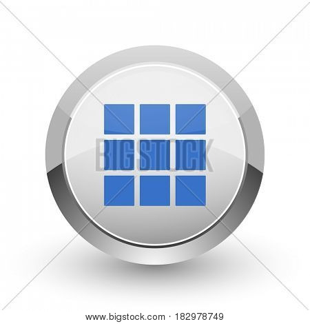 Thumbnails grid chrome border web and smartphone apps design round glossy icon.