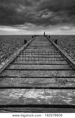 Concept Image Of Path To Nowhere In Desolate Beach Black And White Landscape