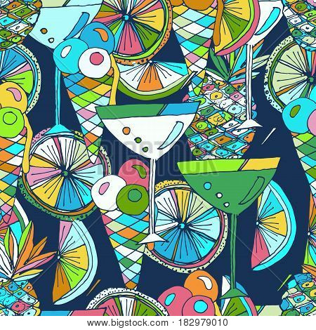 Hand drawn vector pattern. Summer vacation. Cocktails ice cream fruits. Beach party. Seamless background for baby textile surface home interior cover fabric  print gift wrap cards.