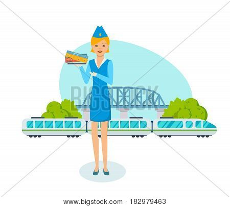 The employee of the railway station stands on the background of a train with wagons and a bridge, with the surrounding situation, holding tickets. Vector illustration isolated in cartoon style.