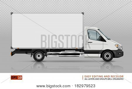 Van vector template for car branding and advertising. Isolated delivery truck set. All layers and groups well organized for easy editing and recolor. View from right side.