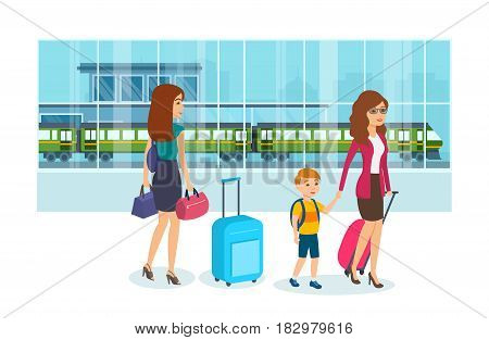Mom holds her son's hand and in her other hand holds luggage, next to a girl with bags, are in the building of the railway station. Vector illustration isolated in cartoon style.