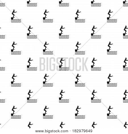 Man standing on springboard pattern seamless in simple style vector illustration