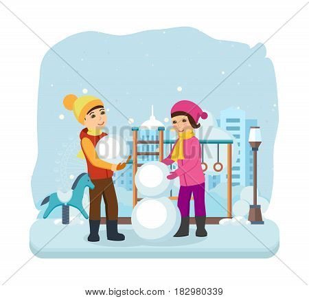 Kids favorite winter activities. Boy and girl in winter clothes, sculpt a snowman in a good mood and with a smile on his face. Modern vector illustration isolated in cartoon style.