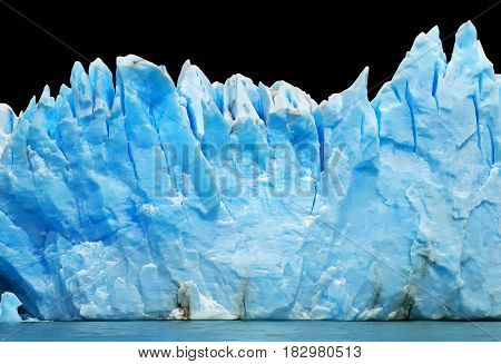 Rows of icebergs isolated on dark background