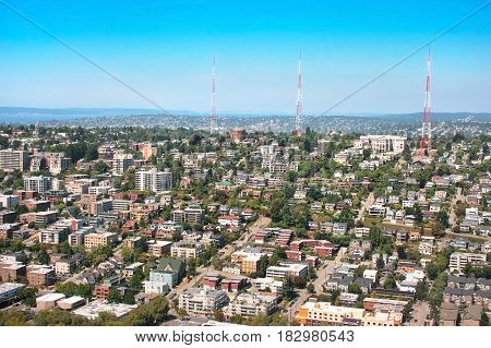 Aerial View Of Queen Anne Hill Neighborhood In Seattle, Washington As Seen From Space Needle