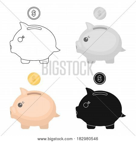 Donation piggybank icon in cartoon design isolated on white background. Charity and donation symbol stock vector illustration.