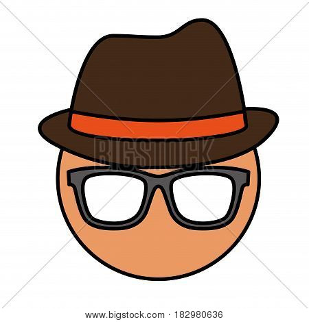man with glasses and hat icon over white background. colorful design. vector illustration