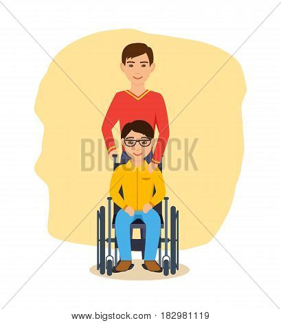 Disabled people concept. A guy in glasses, sitting in an armchair, next to him is his friend, who supports him and looks after him. Modern vector illustration isolated in cartoon style.