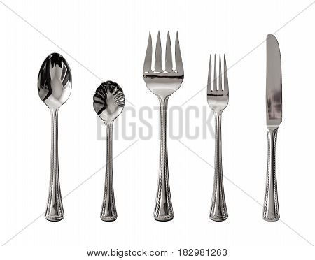 Isolated Silver Spoon, Fork And Knife Utensil On White Background