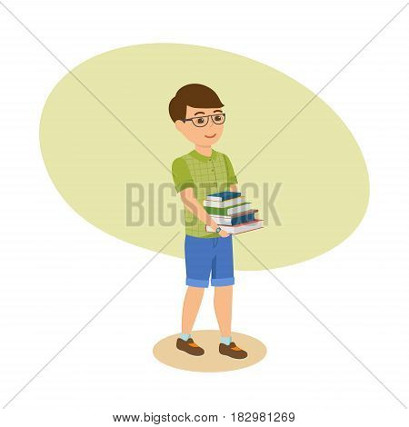 Child with books. The boy in glasses and with literature in his hands, go from the school library with teaching materials. Modern vector illustration isolated in cartoon style.