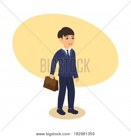 A boy in a beautiful shirt and suit, with a briefcase in his hand, goes to school. Modern vector illustration isolated in cartoon style.