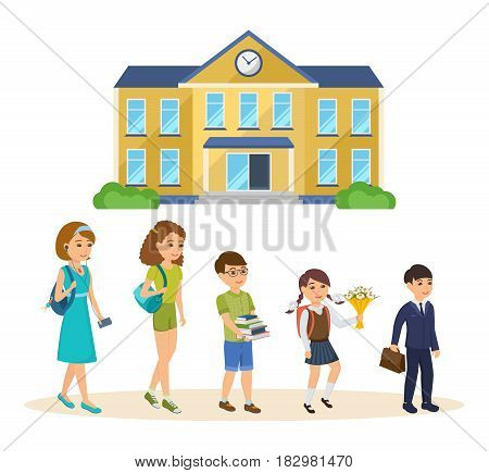 School building, with adjoining territory, front yard for school children, appearance. Students going to classes and training. Education concept. Modern vector illustration isolated in cartoon style.