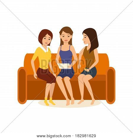 Girlfriends are sitting at home on the couch, holding a tablet in hand and discussing photos and funny stories. Modern vector illustration isolated in cartoon style.
