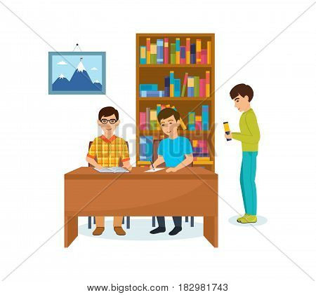 Library and bookstore with people. Young men are engaged in the library, reading books, recording data, selecting the necessary materials. Modern vector illustration isolated in cartoon style.