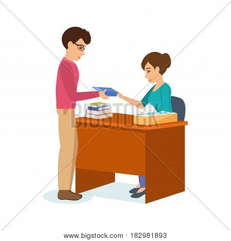The man receives books and information material from a library employee working with the visitor's card file. Modern vector illustration isolated in cartoon style.