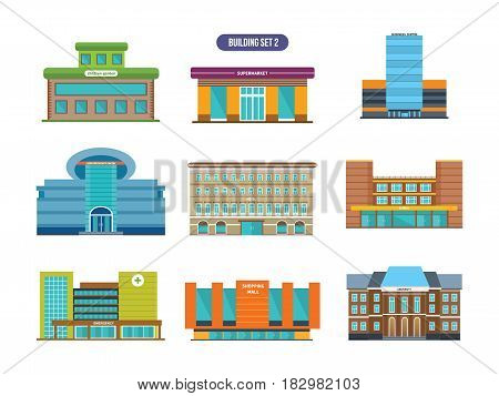 Urban buildings facades and architectural structures. Modern vector illustration isolated on white background.