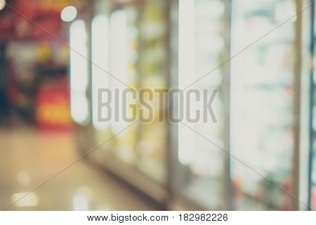 Blurred Background, Product In Fridge At Supermarket In Perspective View With Bokeh Light