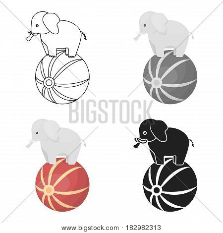 Circus elephant icon in cartoon style isolated on white background. Circus symbol vector illustration.