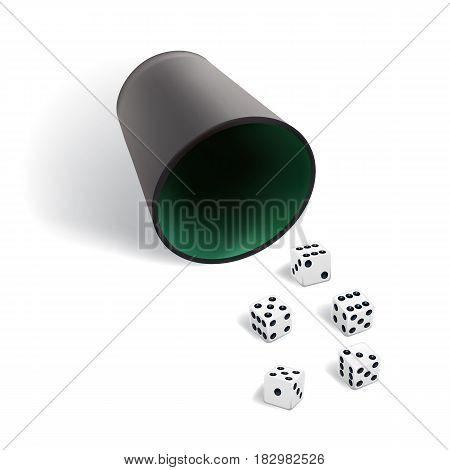 Dice gambling template. White cubes with dice cup on white background. Vector illustration.
