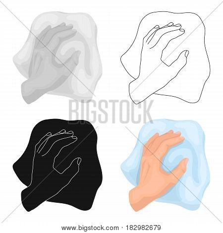 Cleaning by rag icon in cartoon design isolated on white background. Cleaning symbol stock vector illustration.