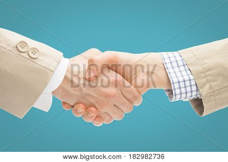 Two Business Men Shaking Hands - Close Up Studio Shot