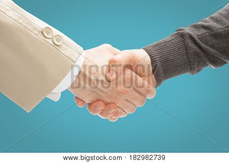 Two Men Shaking Hands - Close Up Studio Shot