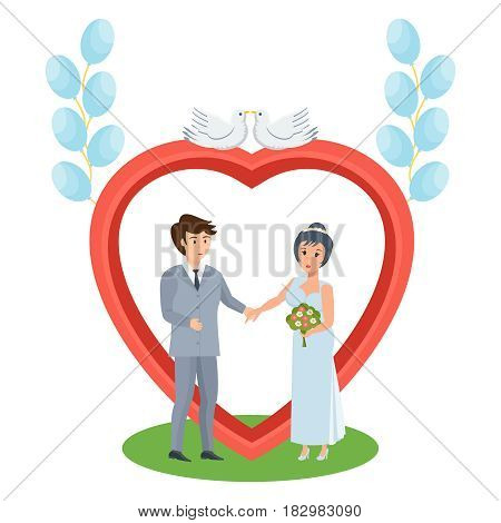 Happy couples in love concept. A happy couple in love stands near an arch with pigeons, a wedding of young people. Modern vector illustration isolated in cartoon style.