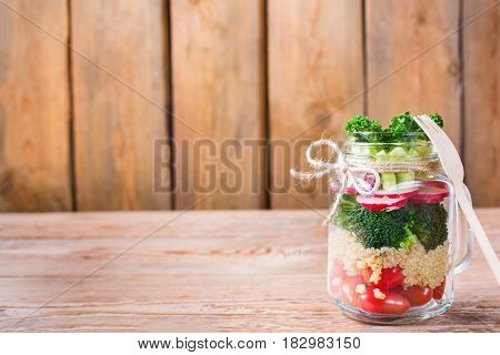 Healthy Vegan Salad In A Mason Jar With Quinoa