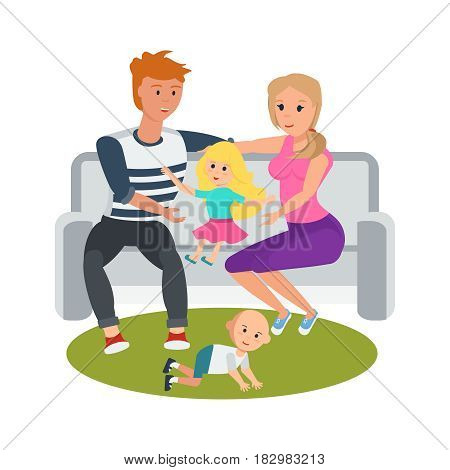 Family vacation with children in nature, in the park. Young couple in a park on a bench, relax, socialize and play with their children. Modern vector illustration isolated in cartoon style.