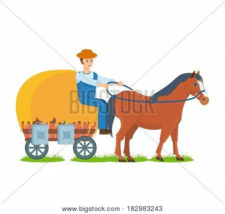 The farmer rides a horse with a cart filled with hay, and cans of milk, environmentally friendly farm craft. Modern vector illustration isolated in cartoon style.